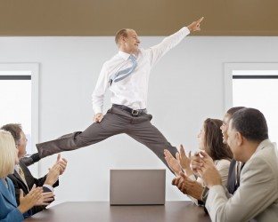 Businessman Midair in a Business Meeting