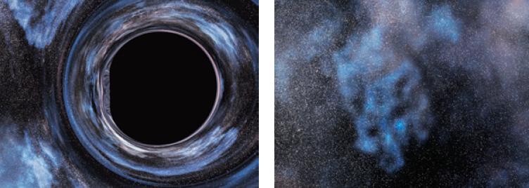 Быстровращающаяся черная дыра (слева), которая движется на фоне звездного поля, изображенного справа (Компьютерная модель студии Double Negative), — иллюстрация из книги «Интерстеллар. Наука за кадром».