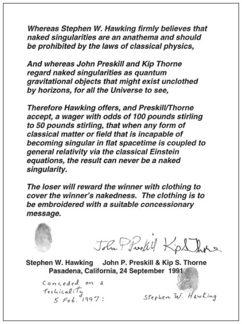 Документальное свидетельство пари ученых-физиков, — иллюстрация изкниги «Интерстеллар. Наука за кадром».