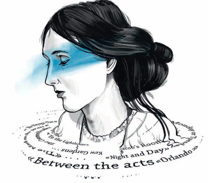 Портрет Вирджинии Вульф сиспользованием элементов типографики