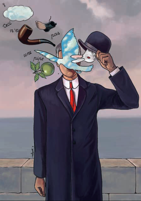 «Magritte's magic». Иллюстрация по мотивам работ бельгийского художника-сюрреалиста Рене Магритта (René Magritte)