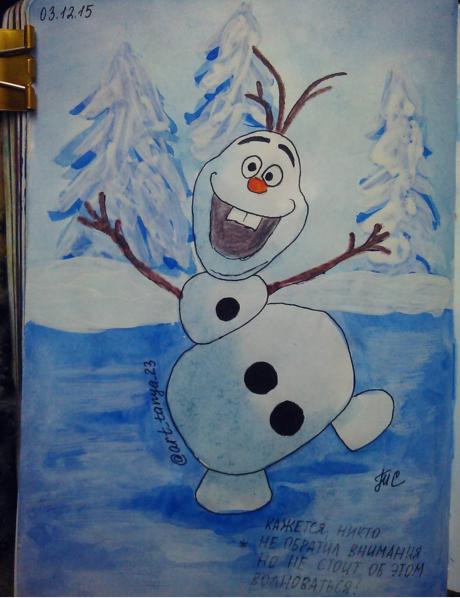 Веселый снеговик от нашей читательницы Татьяны, которая работает учителем, а в свободное время творит :-)