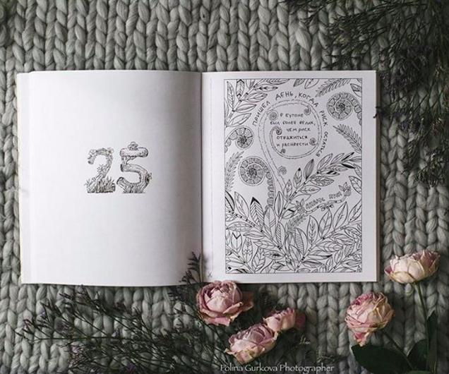 Незаполненная страница раскраски «На год мудрее. 1 медитация в день», - источник.