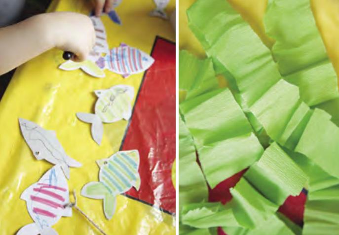 Сделайте рыбок и водоросли из бумаги