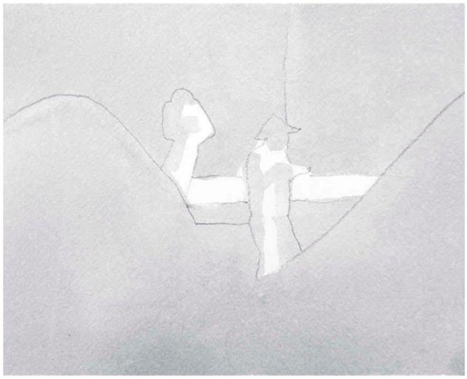 Нанося самый светлый тон, оставьте белые участки