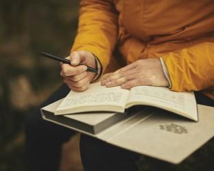 man writes