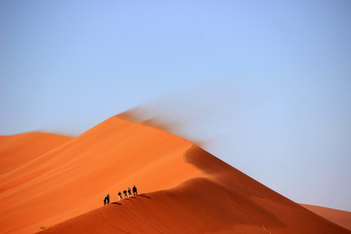 sunny sand desert hiking