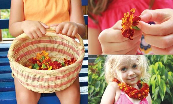 Девчокам нравится делать ожерелье из цветов