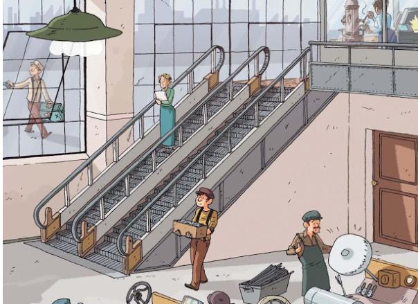 Лестница с движущимися ступенями появилась в 1896 году в США как аттракцион в парке Нью-Йорка.