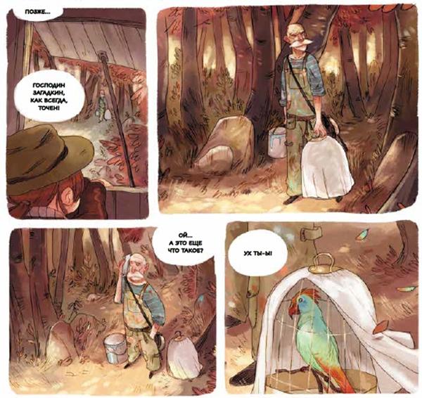 Наблюдая, как Господин Загадкин уходит в лес, девочки заметили, что он взял с собой клетку с красивым попугаем