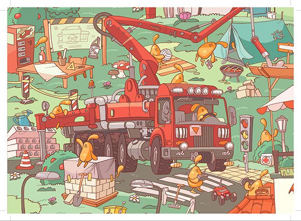 «Желейчики на стройке» — большой виммельбух, который рассказывает об удивительном мармеладном народе
