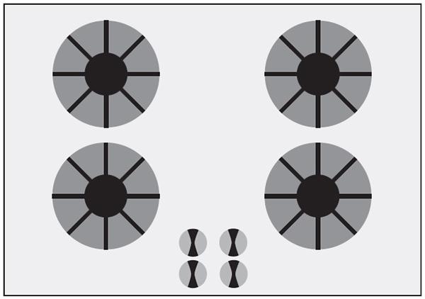 Газовая плита, вариант 2. Ручки и конфорки расположены одинаково. Подталкивает к правильному использованию.