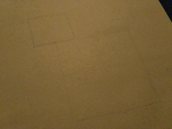 Затем разделим этот квадрат еще на четыре квадрата, а наверху нарисуем пятый