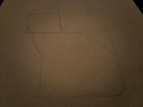 Время рисовать очертания котика и стирать наши «вспомогательные» линии.
