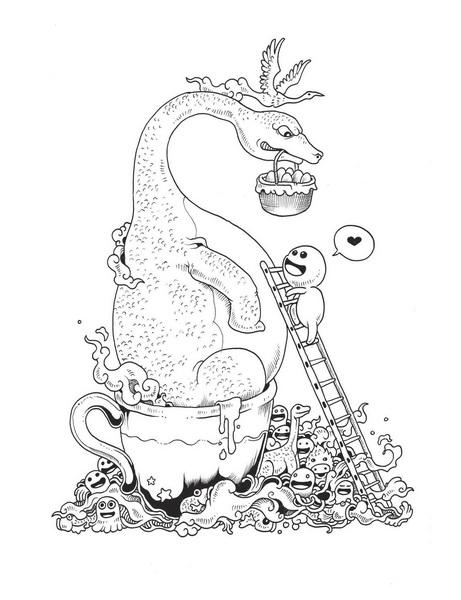 Дракоша из раскраски «Вторжение дудлов»