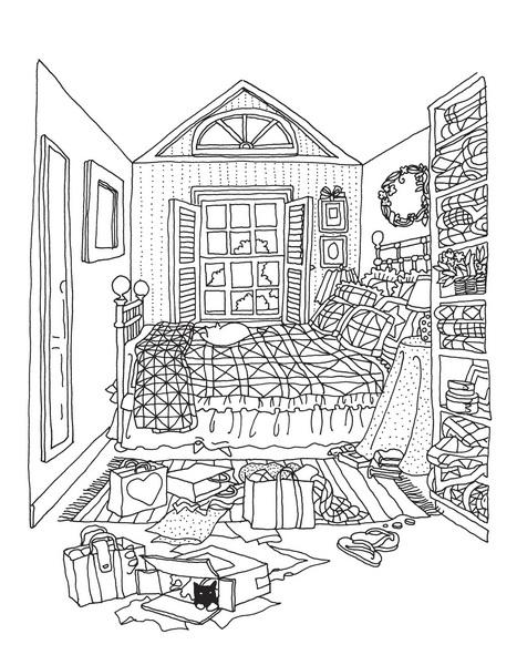 Уютная комната из раскраски «Творческий беспорядок»