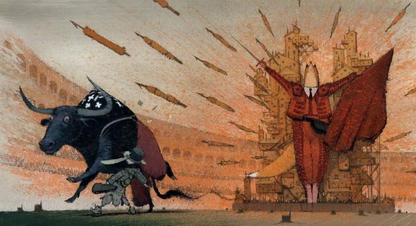 Коварство Лисы уже не знает границ: увидев бедного Быка, она тут же читает его слабости и появляется в образе тореадора! Бык сходит с ума от страха и убегает от этого почти человеческого обличия.