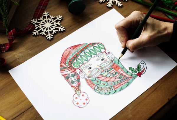 Нарисовать Деда Мороза или снеговика