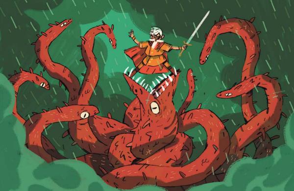 О подвигах Эрика Браунстоуна, который доблестно сражался со стоглавым змеиным королём с острова Такернак...