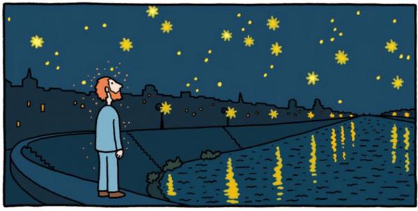 До этой картины была и другая — «Звездная ночь над Роной». На ней Ван Гог изобразил вид на набережную восточного берега Роны. В то время он жил недалеко от этого местечка в Арле.