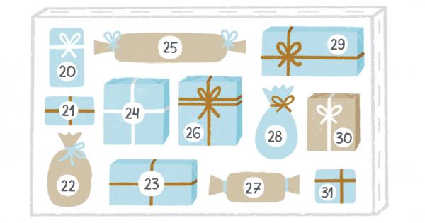 Подарки можно приклеить на двухсторонний скотч к какой-нибудь основе: к большой раме, холсту на подрамнике или просто к картону или оргалиту