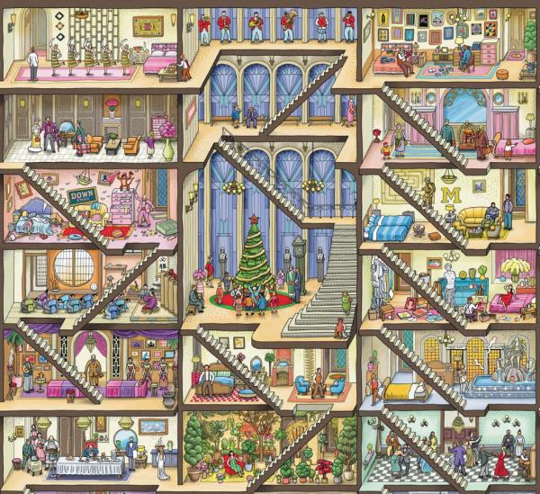Главные герои спасают Рождество в книге «Детектив Пьер. Погоня в Башне лабиринтов». Вот одна из многочисленных елок: скромная и уютная.