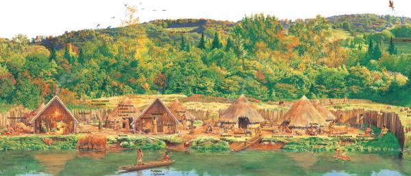 И вновь переносимся в былое: в этот раз на 12 000 лет назад. И найдём улицу, на которой и будут происходить все удивительные события. Книга «Улица сквозь время» необыкновенная, почти волшебная. Вот мы видим заросшие лесами просторы — это первые земледельцы возделывают землю