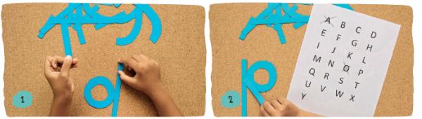 Напишите алфавит (прописные или строчные буквы) на листе бумаги, чтобы использовать его как образец во время игры.