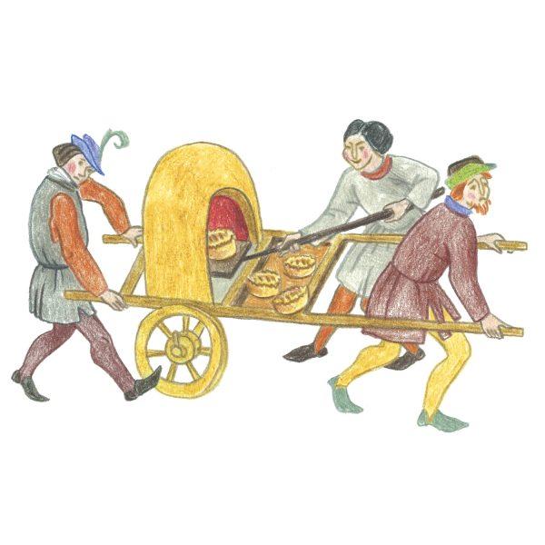 Да, многие вещи изменили свой облик, но по сути они остались прежними. Например, печка на колёсах — вот где взять средневековый фастфуд!