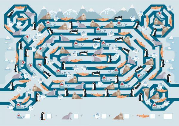 Когда пройдёшь лабиринт, смотри внизу страницы, каких животных нужно найти. Считаем животных и записываем ответы в клеточки. Выполняем сложение, чтобы определить, сколько всего указанных животных спряталось в лабиринте