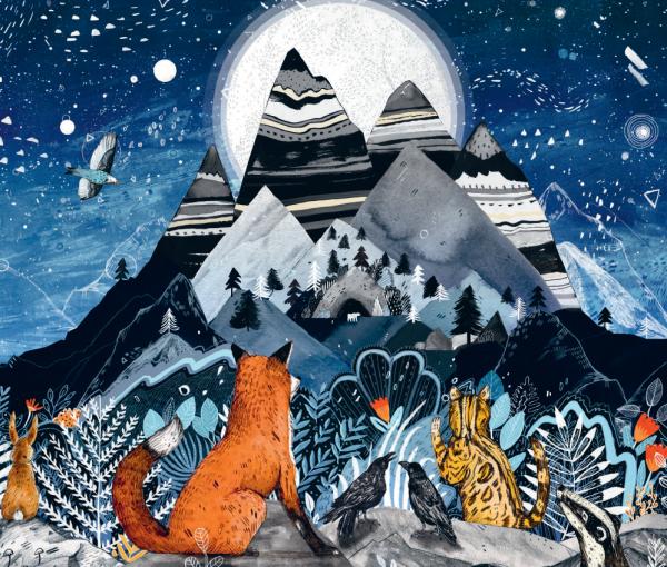 В книге — необыкновенные иллюстрации. Текстурированное море, пёстрые горы, животные, словно сошедшие с древних наскальных рисунков
