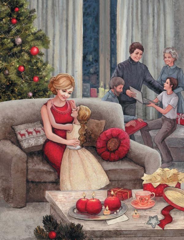 «Книга Нового года и Рождества. Наши дни» идеальна для создания новогоднего настроения. На картинке ниже — трогательный момент вручения подарков.