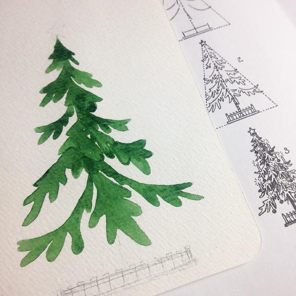 «Заполните» елку зеленой акварелью.