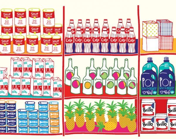 Представь американские супермаркеты конца 1960-х. Смотри, как их полки быстро наполняются новыми, диковинными продуктами фабричного производства — супами быстрого приготовления, мороженым в упаковках, чистящими средствами и так далее