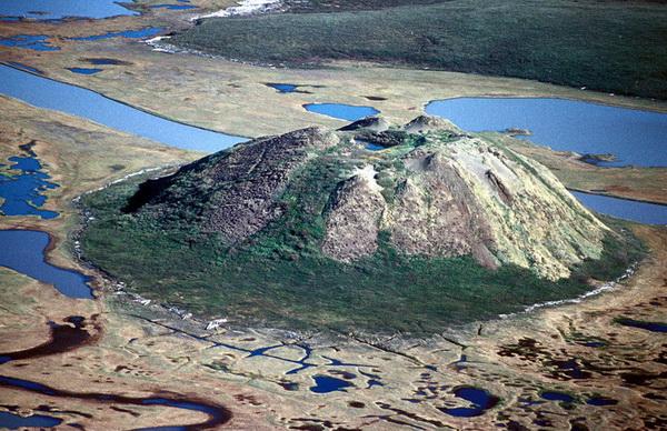 Пинго — холм изо льда, покрытый слоем почвы
