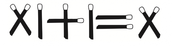 Вот арифметическое выражение, записанное римскими цифрами, которые выложены десятью спичками. Выражение это неправильное. Можете ли вы его исправить, не прикасаясь к спичкам, не добавляя и не убирая их?