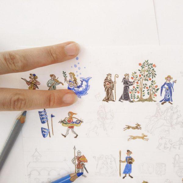 Во всех иллюстрациях в основе лежат миниатюры из средневековых манускриптов. Я потратила несколько месяцев на поиск подлинных изображений