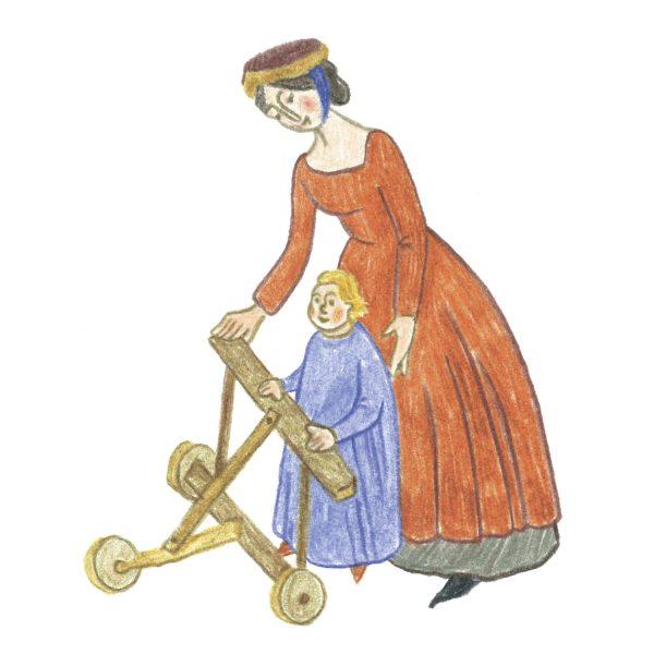 Кстати, мне удалось найти миниатюры со средневековыми колясками, игрушками и ходунками! До сих пор радуюсь.
