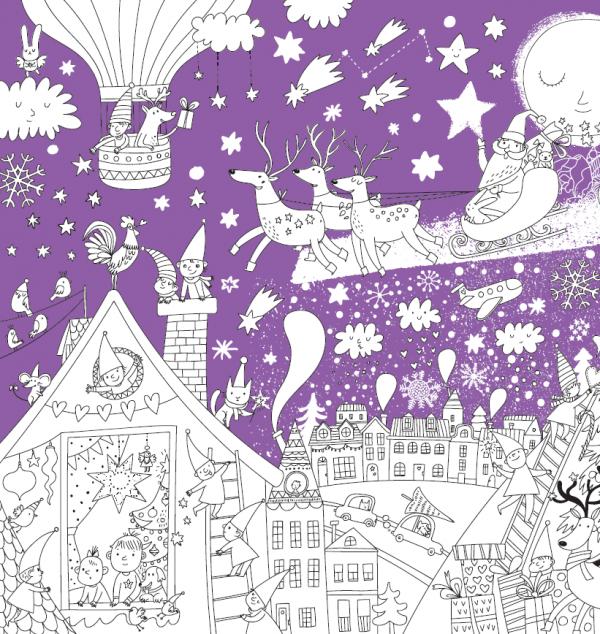 Новогодний сюжет из раскраски-плаката «Новогодняя»