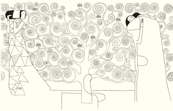 Слева от него изображена в профиль женская фигура, олицетворяющая Ожидание. Справа от дерева изображены мужчина и женщина, слившиеся в объятиях. Раскрась рисунок и сделай его еще великолепнее.