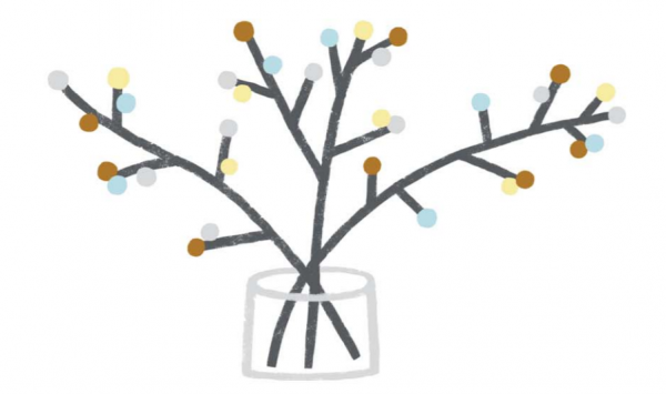 Наклейте на ветки пластилиновые шарики или шарики из войлока, ваты или папиросной бумаги. Веточки можно покрасить белой краской или нанести на них клей и обвалять в блестках, в соли или в искусственном снеге