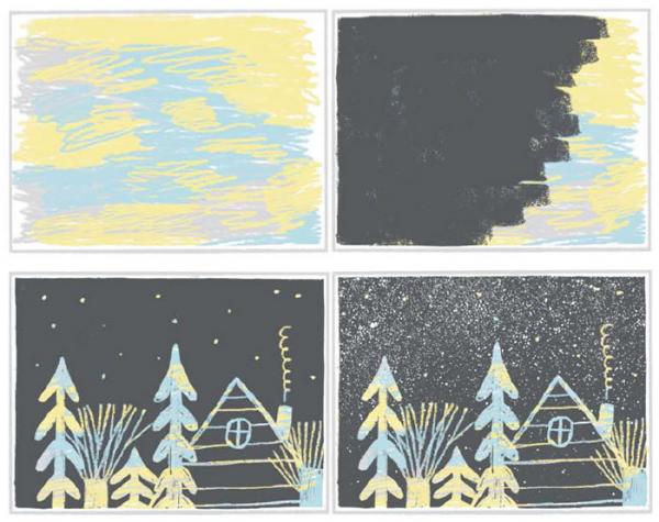 Дайте ребенку черную плотную бумагу и белые или желтые восковые мелки. Получатся красивые абстрактные рисунки на черном фоне, их можно повесить на холодильник или превратить в открытки.