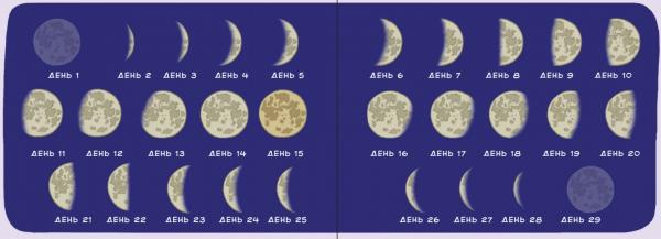Если месяц похож на букву «С», значит, луна «спадающая». А если к месяцу можно сбоку пририсовать палочку и получится буква «Р», значит, луна «растущая».