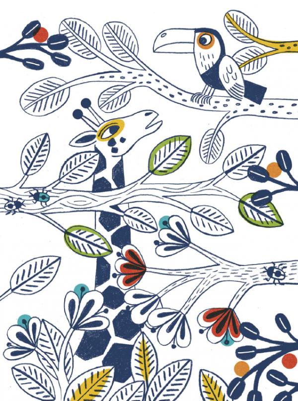 Жираф из раскраски с наклейками «Разноцветные джунгли»