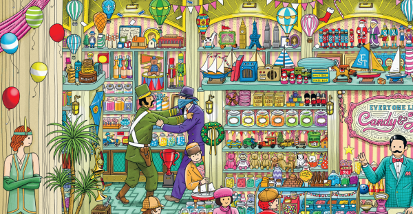 Виммельбух нужно видеть вживую: держать в руках большую книгу, рассматривать персонажей, объекты, баночки, конфеты, воздушные шары