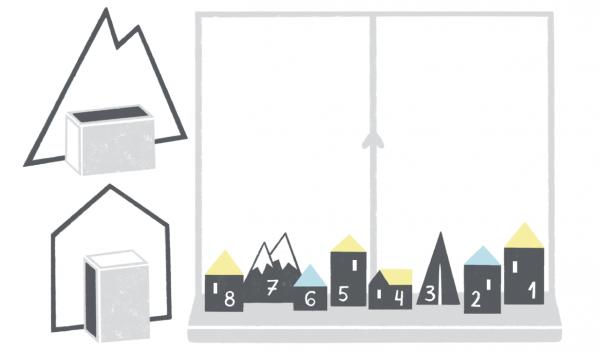 Разложите подарки по спичечным коробкам и приклейте к ним вырезанные из бумаги силуэты, например домики, горы, елки, и расставьте их на подоконнике или на полке