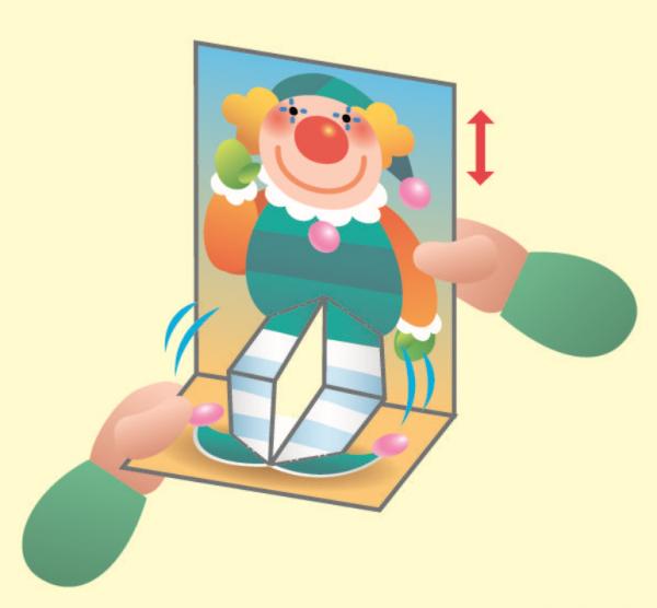 Одной рукой держи, а другой — двигай картинку, чтобы клоун начал танцевать.