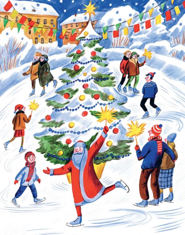 Катание на коньках, нарядная елка, смех, горячий шоколад... Посмотрите на рисунок из книги «Чудеса в кармашке, или Поиски Деда Мороза» и вперед, на местный каток ;) Прихватите бенгальские огни!