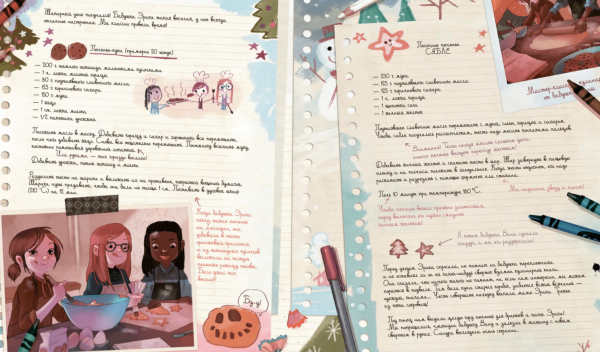 Это третий том из серии комиксов «Дневники Вишенки». И хотя изначально книга задумывалась как детская, удовольствие доставит она даже взрослым читателям. Потому что она невероятно красивая, добрая, светлая и новогодняя.