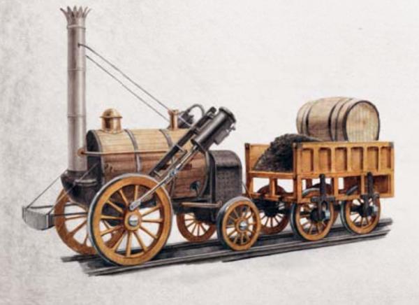 Вот так выглядел один из первых паровозов